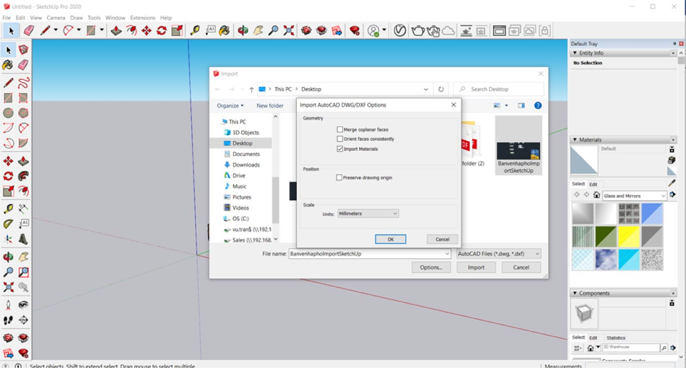 Chuyen file AutoCAD sang SketchUp