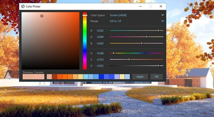 V-ray for SketchUp color picker