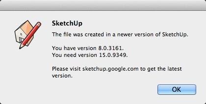 Lỗi SketchUp sai khác phiên bản