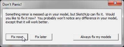 Lỗi SketchUp don't panic