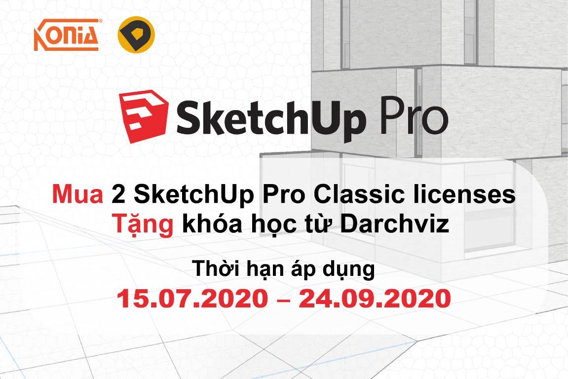 Mua 2 licenses SketchUp vĩnh viễn tặng 1 khóa học tại Darchviz studio