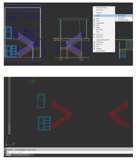 isolate object autocad