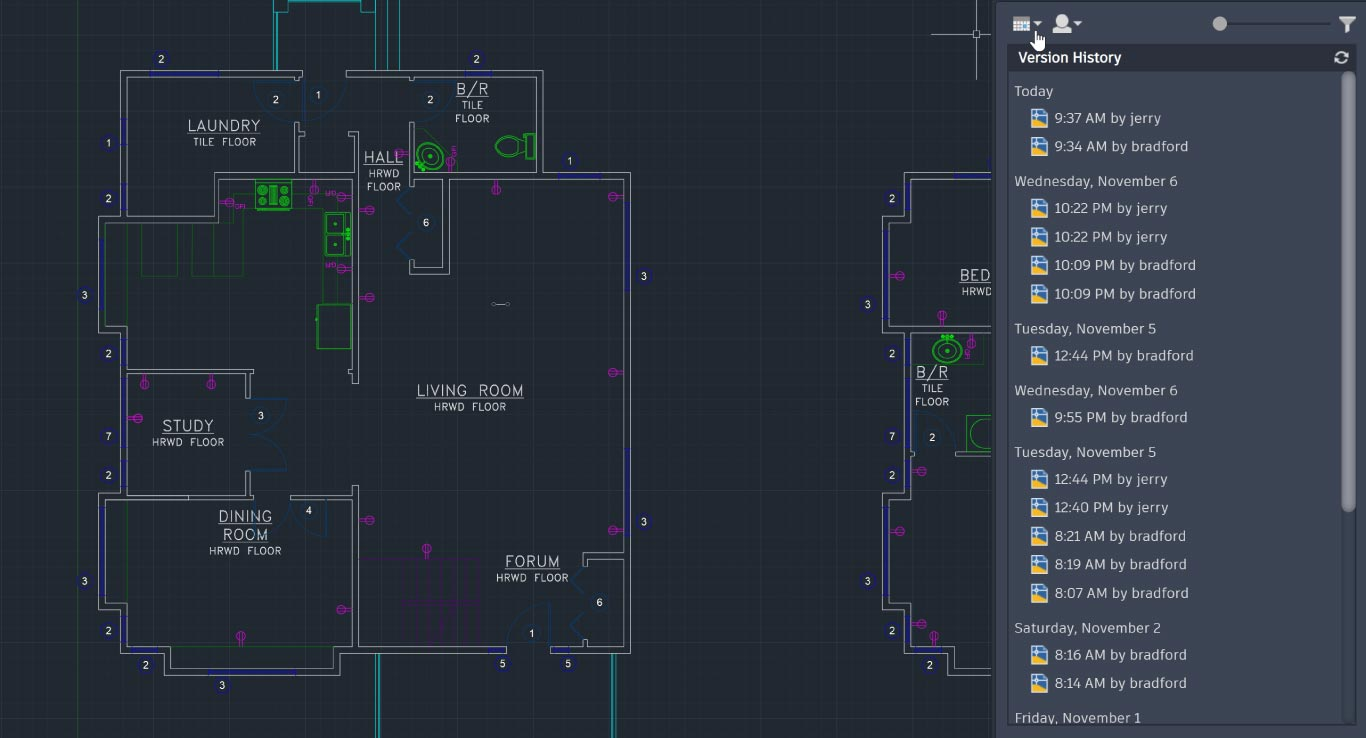 Drawing history phần mềm autocad 2021