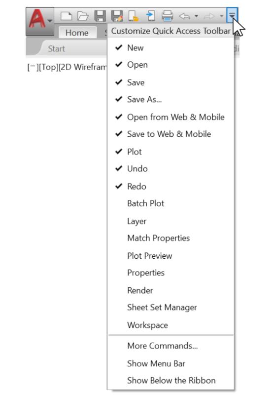 Quick access toolbar - hiện thanh công cụ AutoCAD